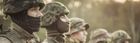 sniper training: Unformed soldiers standing in one line