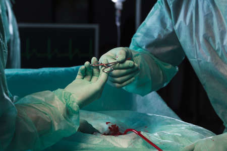 surgical department: Close up of surgeons hands during surgical intervention Stock Photo