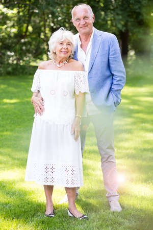 rich people: Photo of happy smiling romantic senior man and woman