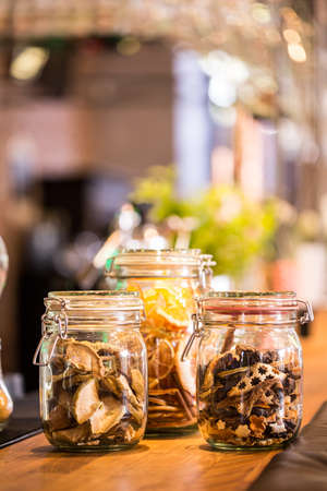 jars: Dried fruits and cakes in the jars
