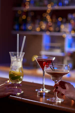 alcoholic drinks: Tasty colorful alcoholic drinks on the bar