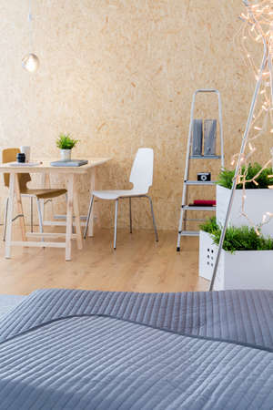 bedcover: Vertical view of studio in contemporary style Stock Photo