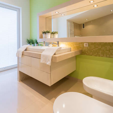 handbasin: Green painted wall in beauty modern bathroom