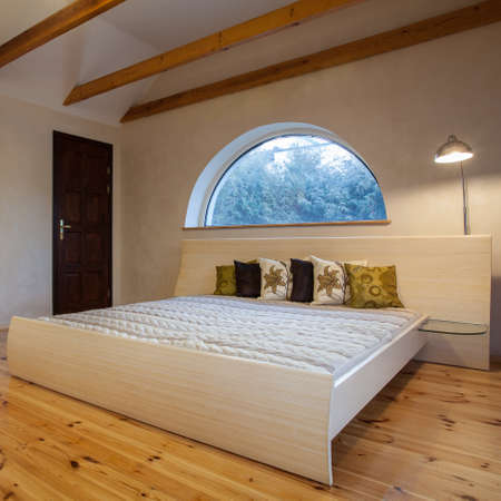 cloudy home: Cloudy home - bright bedroom interior, horizontal view