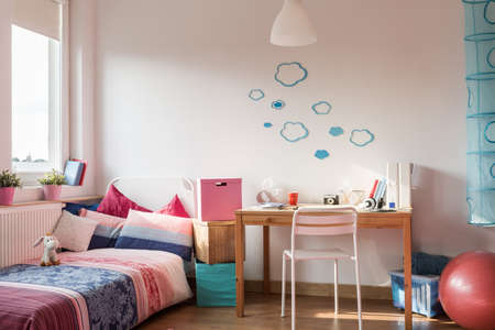 contemporary interior: Picture of rose details in girls room Stock Photo