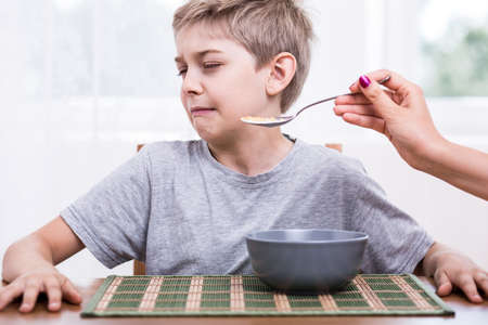 abomination: Picky eater boy refusing to eat disgusting food