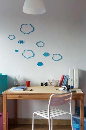 wall decor: Cloud wall decor in cozy childs room