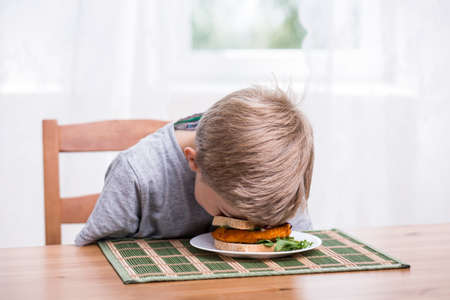 Boy falling asleep and landing face in food Archivio Fotografico