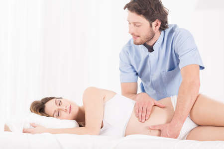 pregnancy: Horizontal view of massage for pregnant woman
