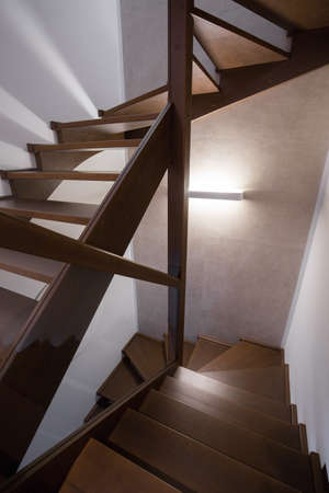 Modern and wooden stairs in the house Zdjęcie Seryjne
