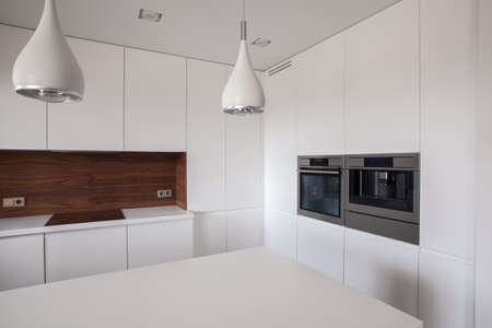 White and clean kitchen in the house