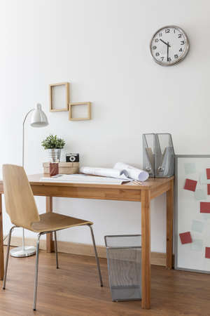 designer chair: Desk and chair in home office in modern minimalistic style