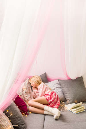 girly: Photo of girly cosy sleeping area with canopy