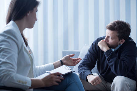depression man: Horizontal view of psychotherapy for depression treatment