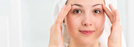 clear skin: Fresh showered young woman with clean skin face