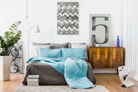 広々 としたベッドルーム、モダンなスタイリッシュな家具のイメージ 写真素材
