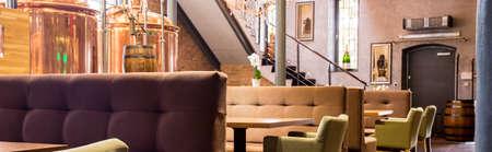 kettles: Elegant modern restaurant and big brewery kettles Stock Photo