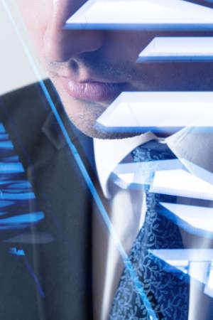 multiple exposure: Multiple exposure of modern office worker in suit