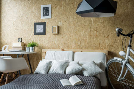 teen bedroom: Small trendy bedroom with desk and bicycle