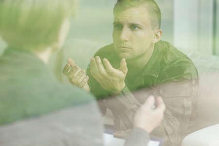 psychiatric: Image of war veteran after mental breakdown during psychiatric treatment Stock Photo