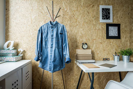 original: Minimalist room and trendy wall made of fibreboard Stock Photo