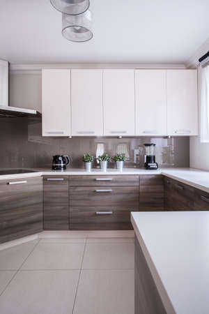 kitchen cabinets: Modern and wooden cabinets in the kitchen