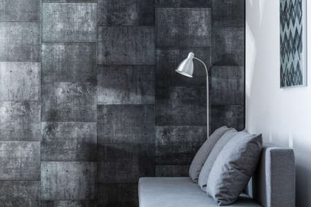 Image of decorative gray wall in new style living room