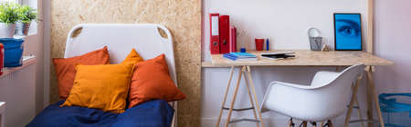 stylish boy: Modern and stylish furnitures in a boys room Stock Photo