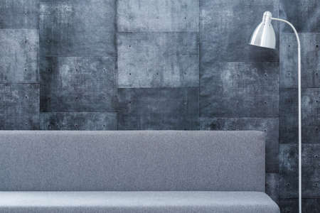 living room sofa: Picture of gray design room with simple sofa and lamp