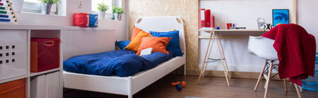 boy bedroom: Comfortable and stylish bed in a boys room