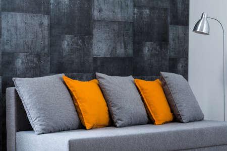 Photo of grey sofa in modern living room Zdjęcie Seryjne