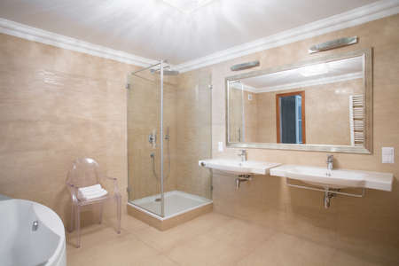 washbasins: Modern bathroom for couple in the house