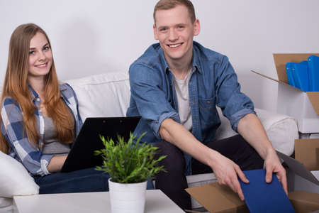 dwelling: Image of happy pair during move to new dwelling place