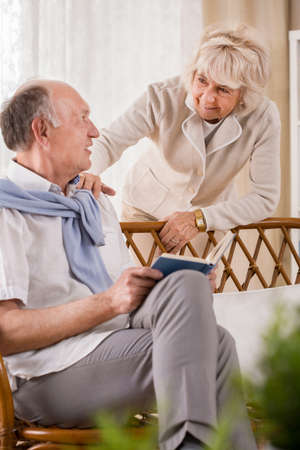 happy seniors: Senior married couple spending afternoon at home together Stock Photo