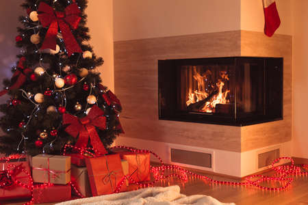 new year tree: Image of christmas tree in living room with fireplace Stock Photo