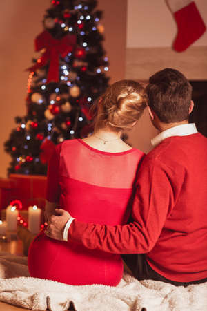 holiday tradition: Image of couple in love and warm magical xmas atmosphere Stock Photo