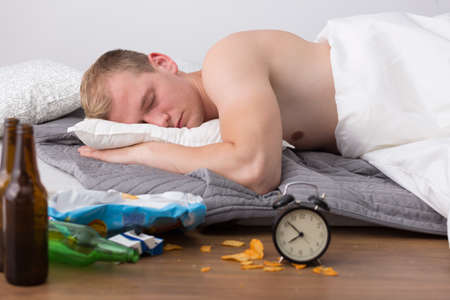 cant: Exhausted man cant wake up after housewarming party