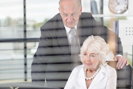 Elderly business people on a meeting in the office