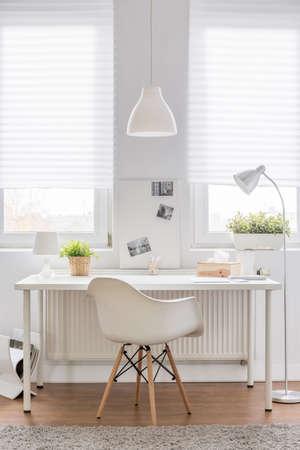 desk area: Photo of minimalistic study area with simple desk