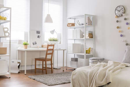 clean room: Picture of new room with vintage wood chair Stock Photo