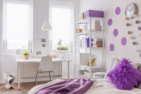 cosy: Image of cosy purple and white room design