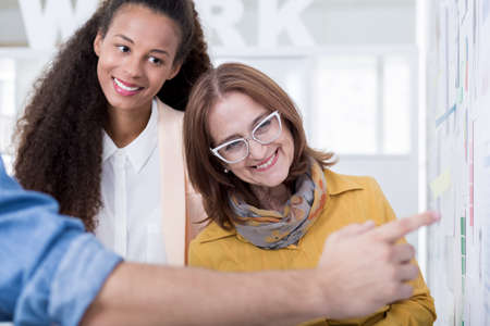 probation: Interns are showing their ideas and plans Stock Photo