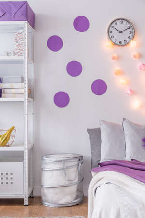 bedroom wall: Picture of purple wall decoration in new bedroom