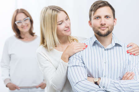 to interfere: Photo of good daughter-in-law caring about husband Stock Photo