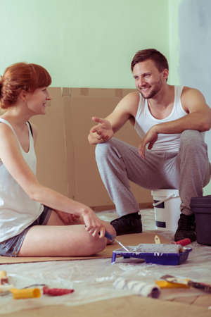 redecoration: Young couple is happy because of redecoration Stock Photo
