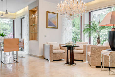 Bright sunny living room with crystal chandelier