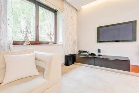 big screen tv: Big screen TV in contemporary luxurious house
