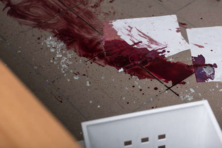 fingerprinting: Blood and glass are marks at the crime scene