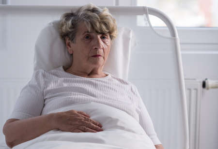 hospice: Image of senior woman with tumor in hospice Stock Photo