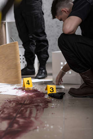 fingerprinting: There is no body found at the crime scene Stock Photo